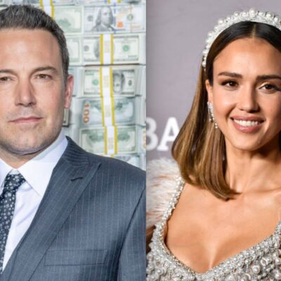 Side by side shot of Ben Affleck and Jessica Alba at red carpet events