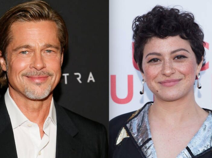 Side by side shot of Brad Pitt at a movie premiere and Alia Shawkat on the red carpet