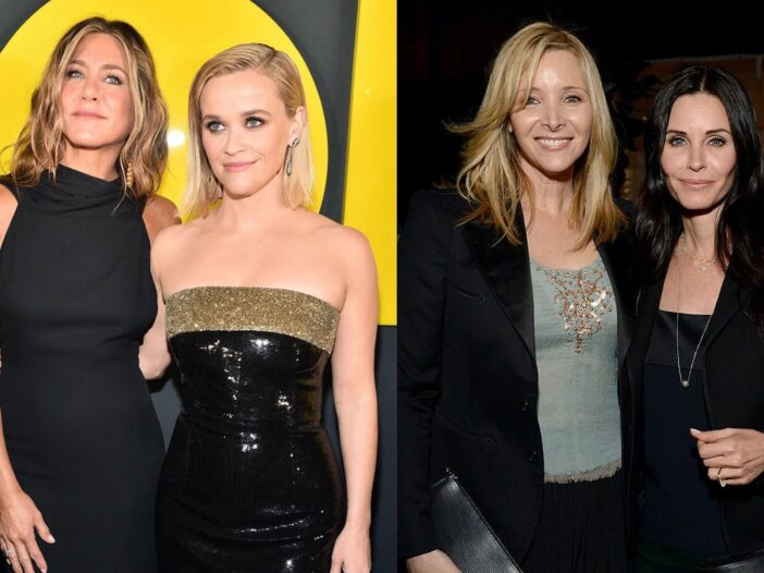 Side by side shot of Jennifer Aniston and Reese Witherspoon, and Courteney Cox and Lisa Kudrow