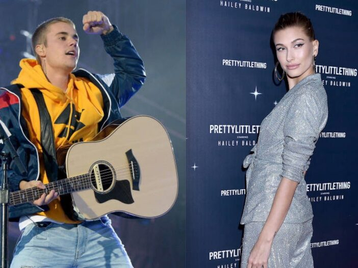 Side by side shot of Justin Bieber on stage and Hailey Baldwin on the red carpet