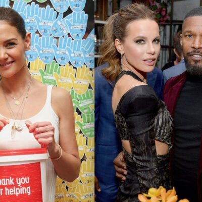 Side by side shot of Katie Holmes at a charity event and Jamie Foxx and Kate Beckinsale at a party