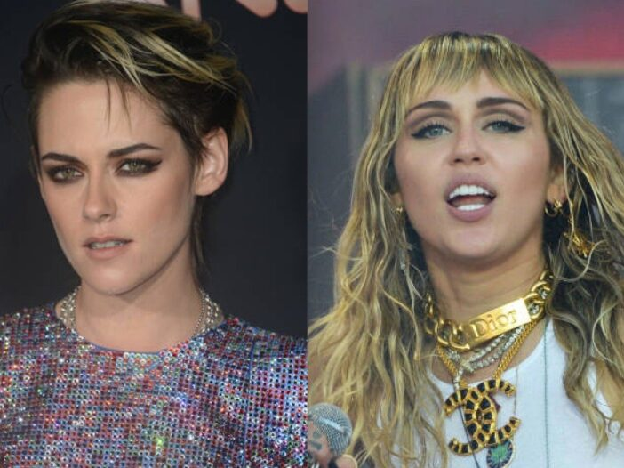 Side by side shot of Kristen Stewart on the red carpet and Miley Cyrus in concert