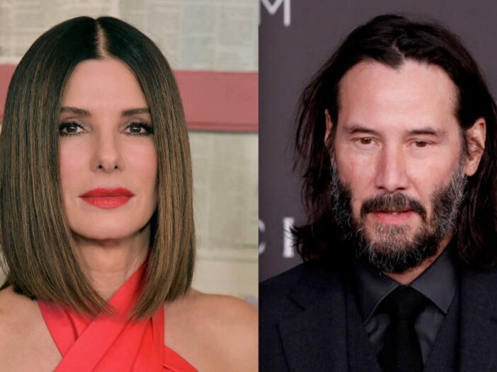 Side by side shot of Sandra Bullock and Keanu Reeves at red carpet events