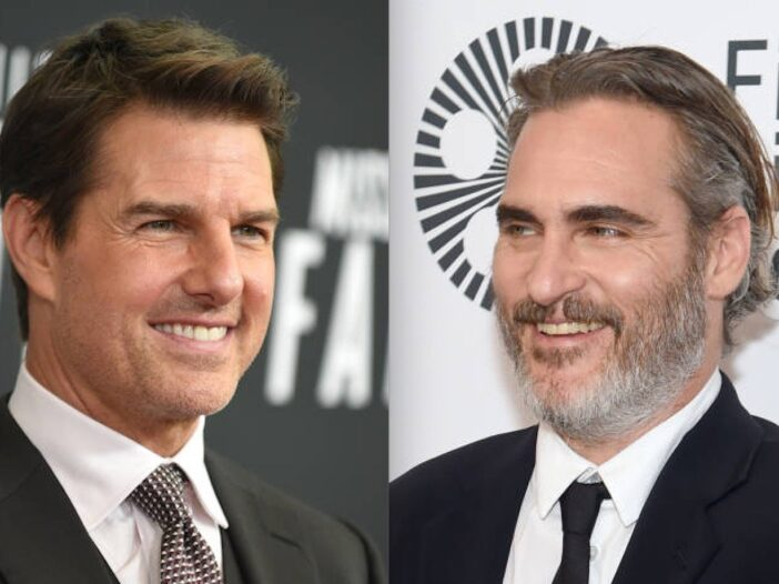 Side by side shot of Tom Cruise and Joaquin Phoenix at red carpet events