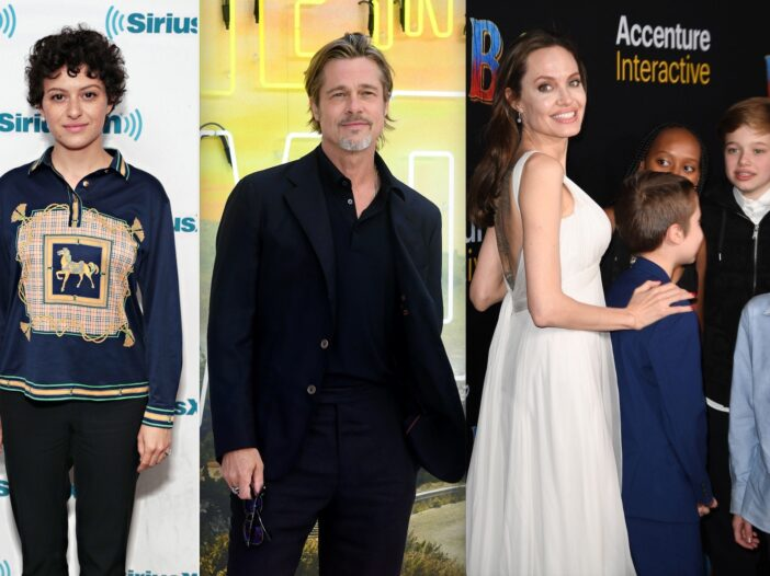 Side by side shots of Alia Shawkat, Brad Pitt, and Angelina Jolie with her kids