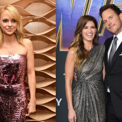 Side by side shots of Anna Faris, and Chris Pratt and Katherine Schwarzenegger