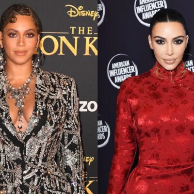Side by side shots of Beyonce and Kim Kardashian at red carpet events