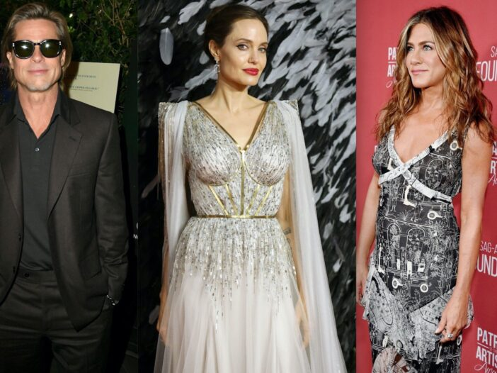Side by side shots of Brad Pitt, Angelina Jolie, and Jennifer Aniston at various events