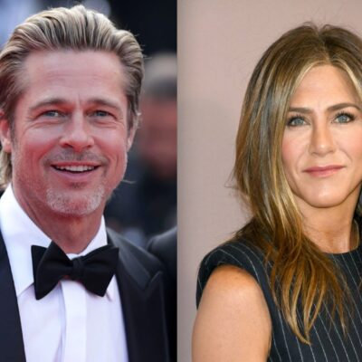 Side by side shots of Brad Pitt and Jennifer Aniston at red carpet events