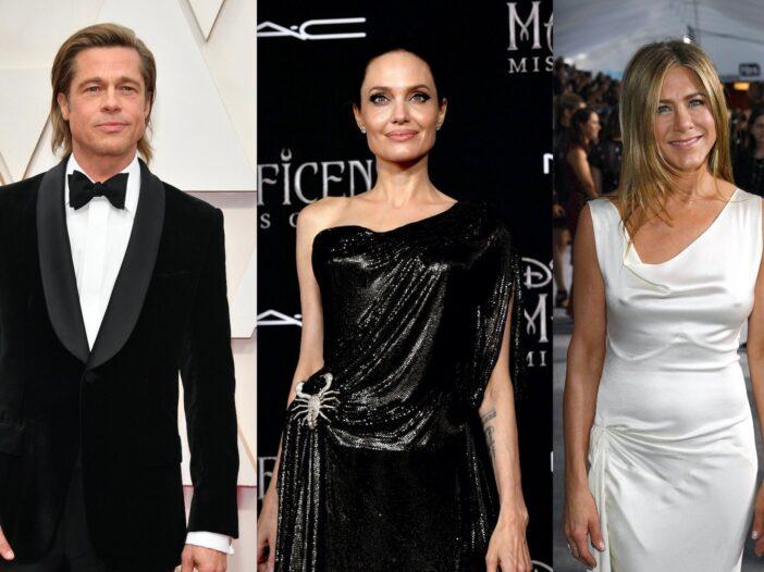 Side by side shots of Brad Pitt, Angelina Jolie, and Jennifer Aniston on red carpets