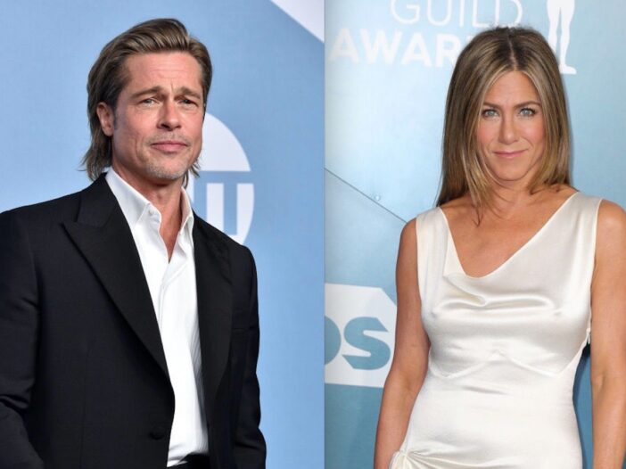 Side by side shots of Brad Pitt and Jennifer Aniston at the SAG Awards