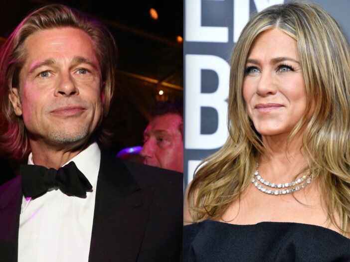 Side by side shots of Brad Pitt and the Golden Globes and Jennifer Aniston at the Golden Globes