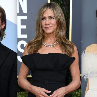 Side by side shots of Brad Pitt, Jennifer Aniston, and Angelina Jolie at separate red carpet events