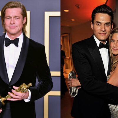 Side by side shots of Brad Pitt at the Oscars and John Mayer and Jennifer Aniston hugging