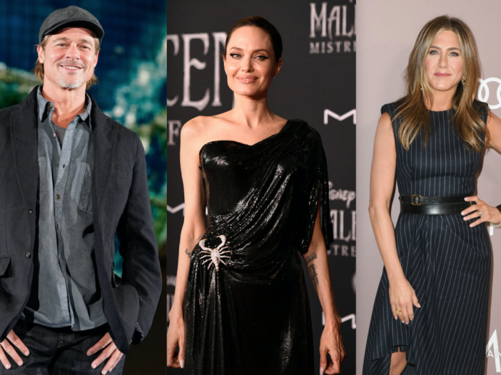 Side by side shots of Brad Pitt, Angelina Jolie, and Jennifer Aniston at separate red carpet events