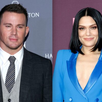 Side by side shots of Channing Tatum at a red carpet event and Jessie J at a red carpet event