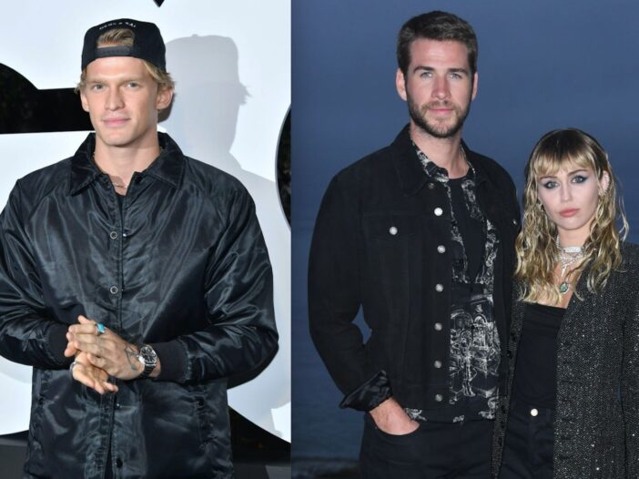 Side by side shots of Cody Simpson, and Liam Hemsworth and Miley Cyrus