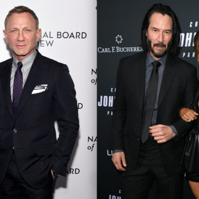 Side by side shots of Daniel Craig, and Keanu Reeves and Halle Berry