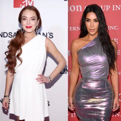 Side by side shots of Emma Stone, Lindsay Lohan, Kim Kardashian, and Ashton Kutcher