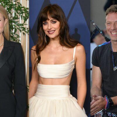 Side by side shots of Gwyneth Paltrow, Dakota Jonson, and Chris Martin