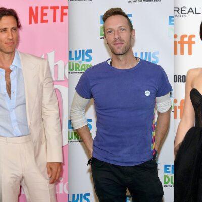 Side by side shots of Gwyneth Paltrow and Brad Falchuk, Chris Martin, and Dakota Johnson