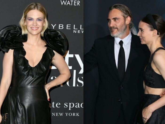 Side by side shots of January Jones on the red carpet and Joaquin Phoenix and Rooney Mara on the red