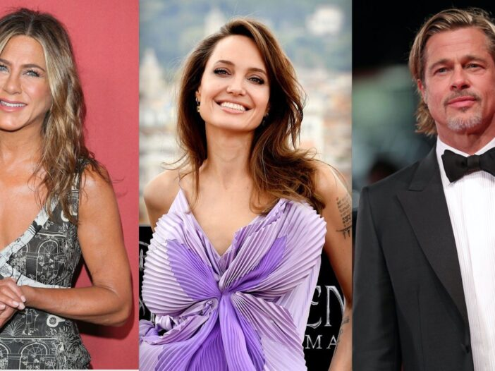 Side by side shots of Jennifer Aniston, Angelina Jolie and Brad Pitt at red carpet events