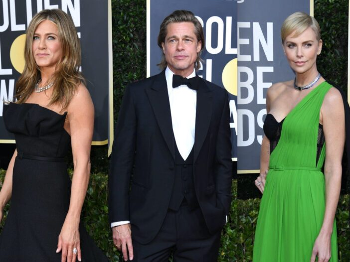 Side by side shots of Jennifer Aniston, Brad Pitt, and Charlize Theron all at the Golden Globes