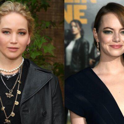 Side by side shots of Jennifer Lawrence and Emma Stone