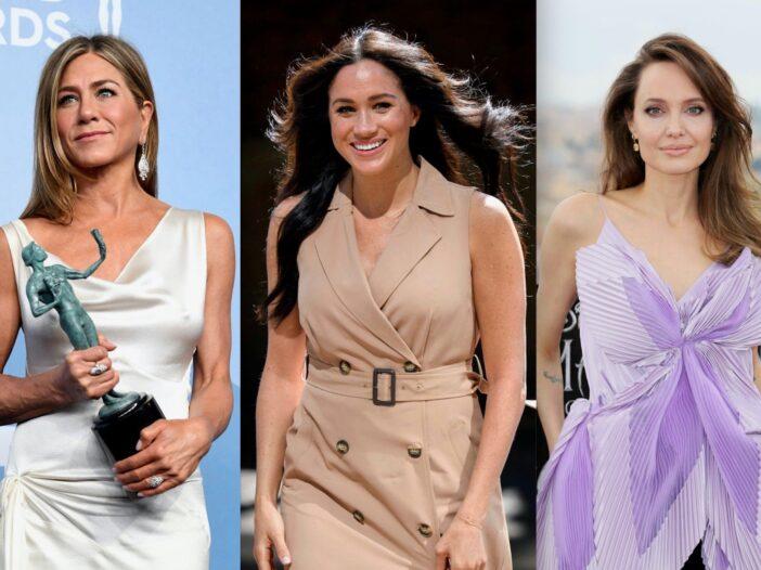 Side by side shots of Jennifer Aniston, Meghan Markle, and Angelina Jolie