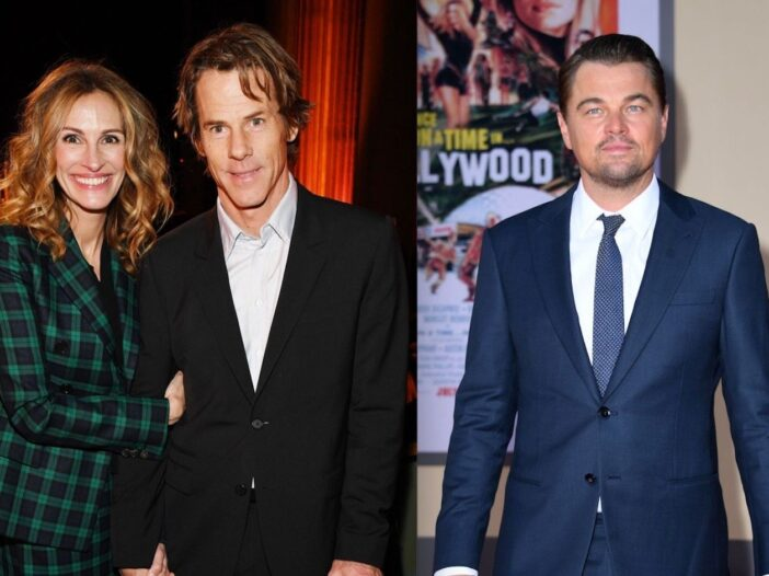 Side by side shots of Julia Roberts and Danny Moder on the red carpet and Leonardo DiCaprio at a pre
