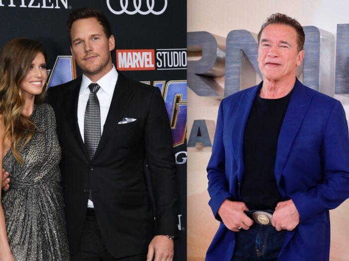 Side by side shots of Katherine Schwarzenegger and Chris Pratt, and Arnold Schwarzenegger