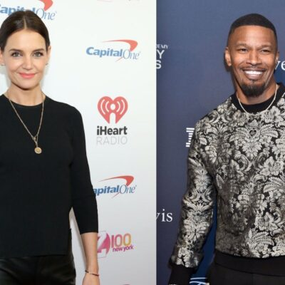 Side by side shots of Katie Holmes on the red carpet and Jamie Foxx on the red carpet