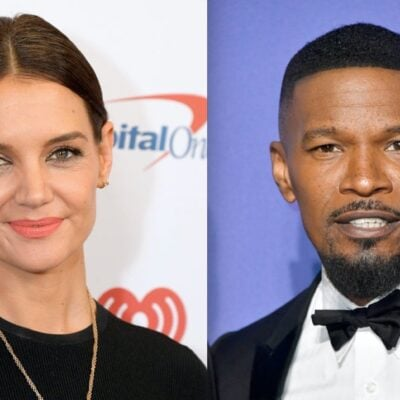 Side by side shots of Katie Holmes on the red carpet and Jamie Foxx at an awards show
