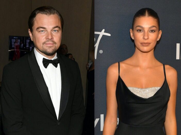 Side by side shots of Leonardo DiCaprio and Camila Morrone at red carpet events