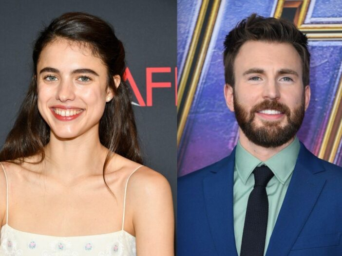 Side by side shots of Margaret Qualley and Chris Evans