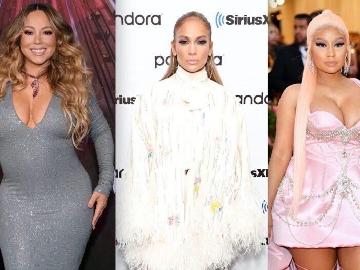 Side by side shots of Mariah Carey, Jennifer Lopez and Nicki Minaj