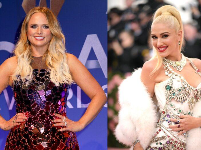 Side by side shots of Miranda Lambert and Gwen Stefani on red carpets
