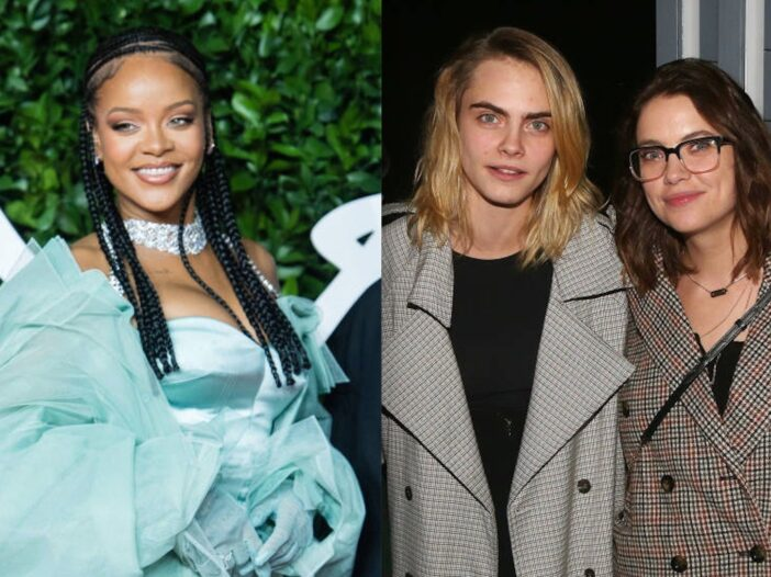 Side by side shots of Rihanna, and Cara Delevingne and Ashley Benson