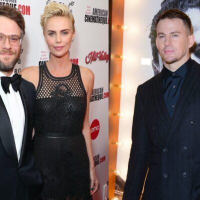 Side by side shots of Seth Rogen and Charlize Theron at an awards show and Channing Tatum on the red