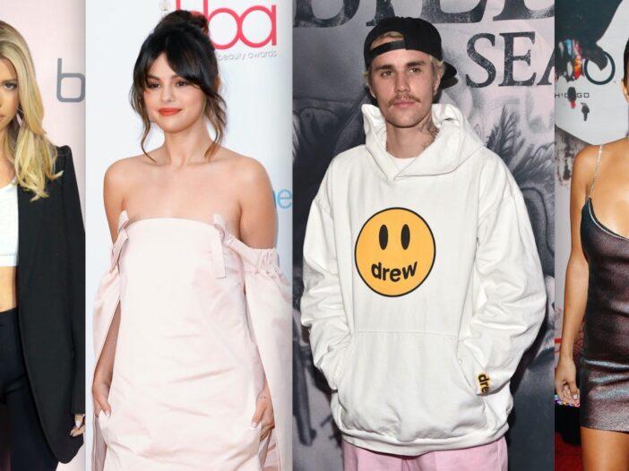 Side by side shots of Sofia Richie, Selena Gomez, Justin Bieber, and Kourtney Kardashian