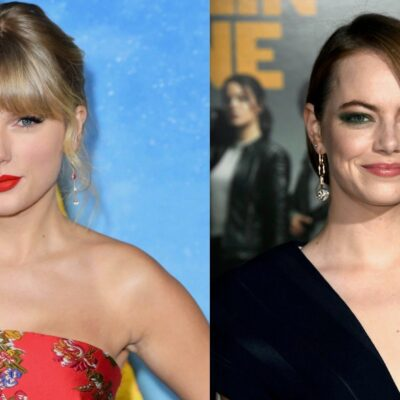"""Side by side shots of Taylor Swift at the """"Cats"""" premiere and Emma Stone at the """"Zombieland 2"""" premi"""