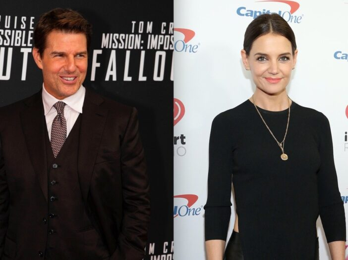 Side by side shots of Tom Cruise at a movie premiere and Katie Holmes on the red carpet