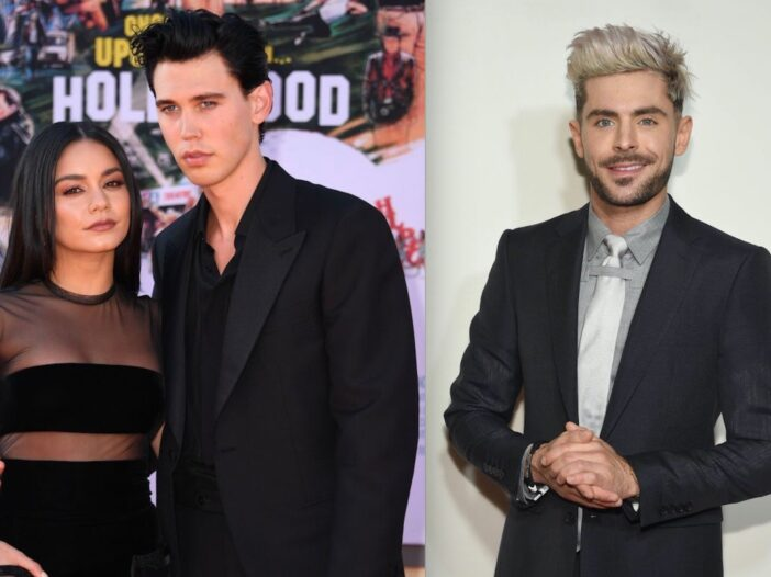 Side by side shots of Vanessa Hudgens and Austin Butler at a movie premiere and Zac Efron on the red