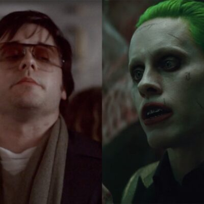 side by side stills of Jared Leto as Mark David Chapman in Chapter 27 and Jared Leto as the Joker in
