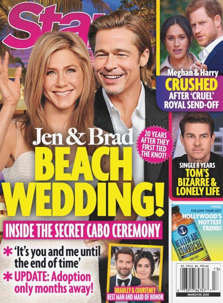 Star cover of Jennifer Aniston and Brad Pitt secret beach wedding