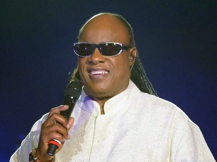 Stevie Wonder performing at a show in 2012