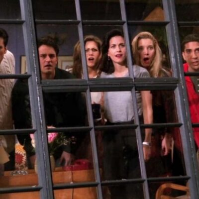 Still from Friends with all six characters looking out a window