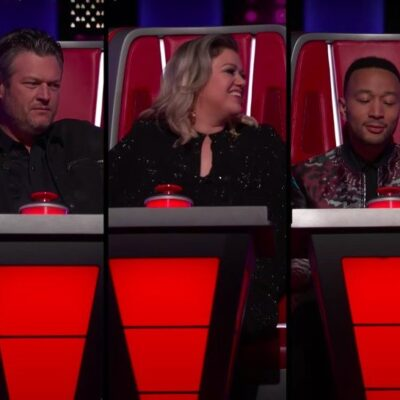 Still from 'The Voice' showing Blake Shelton, Kelly Clarkson, and John Legend sitting in big chairs