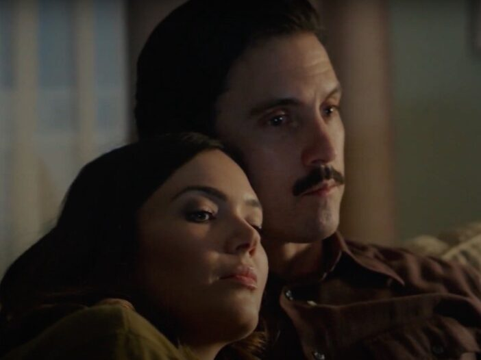still from This Is Us of Milo Ventimiglia and Mandy Moore sitting on a couch